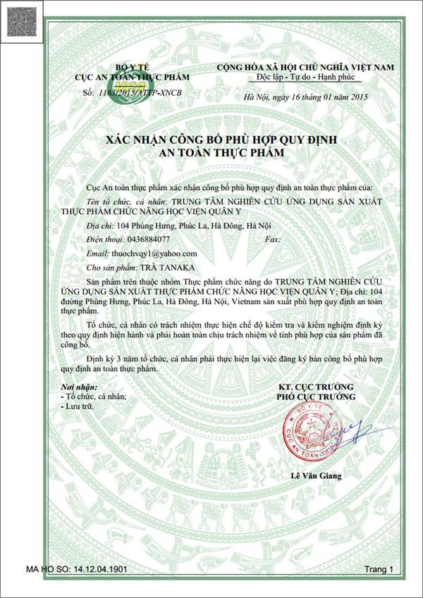 Xác nhận công bố sản phẩm Trà TANAKA