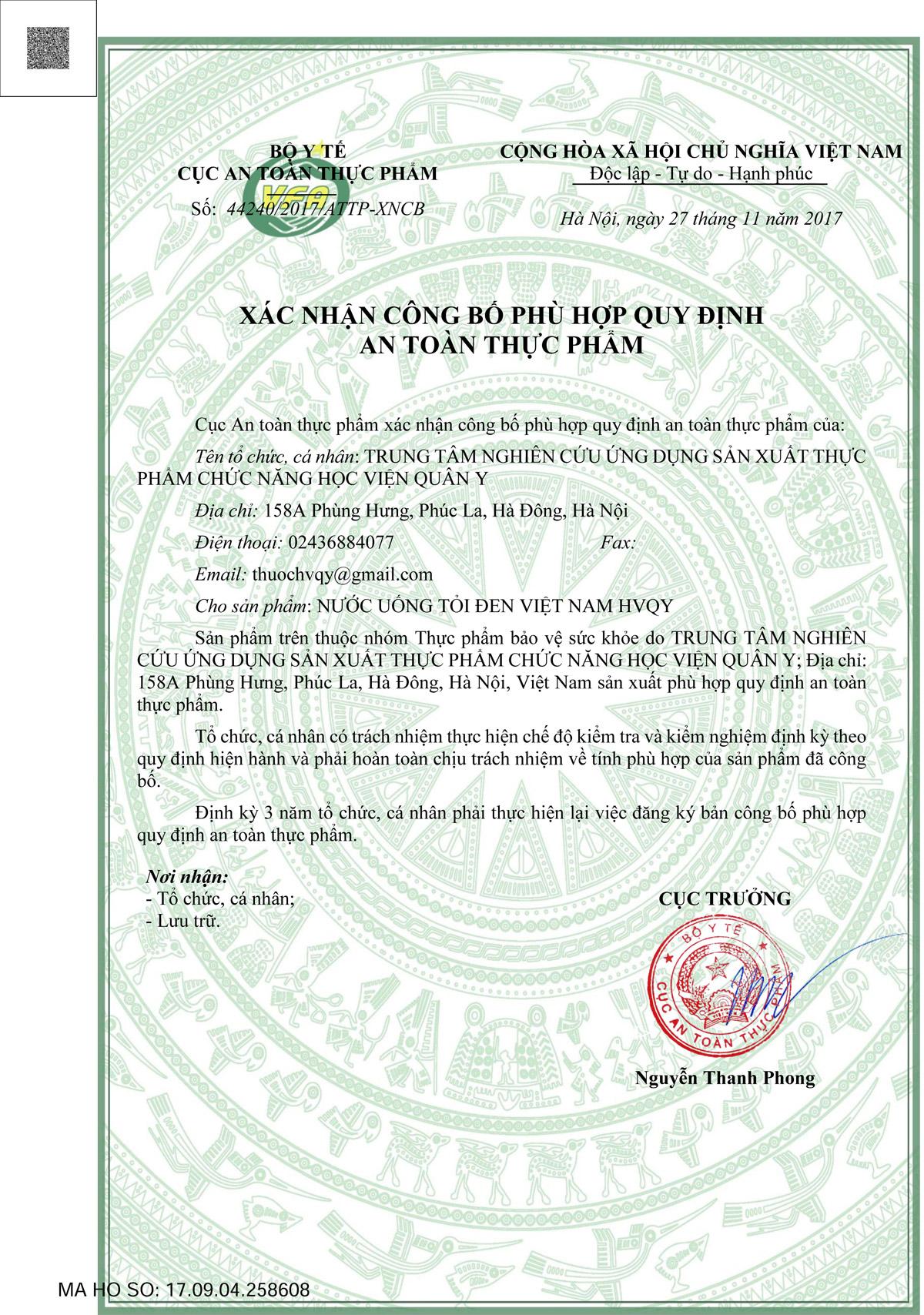giấy công bố sản phẩm của Bộ Y Tế an toàn